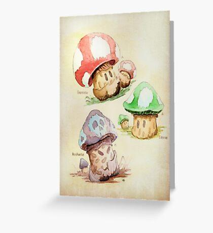 Mario Mushrooms Botanical Illustration Greeting Card