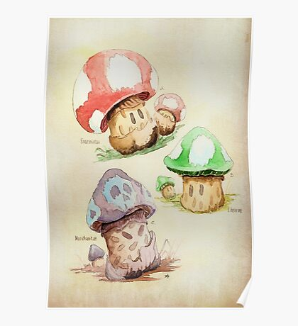 Mario Mushrooms Botanical Illustration Poster