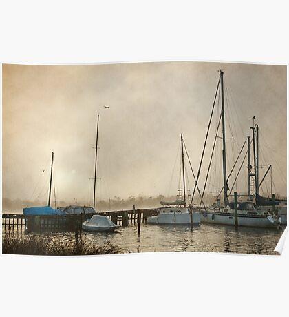 Yachts in Fog, Franklin Tasmania Poster