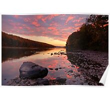 Evening Glow on The Delaware Poster