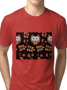Cute Brown Owl Autumn Pattern Tri-blend T-Shirt