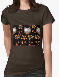 Cute Brown Owl Autumn Pattern Womens Fitted T-Shirt