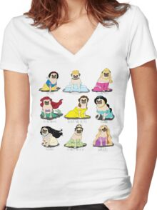 Pug Princesses Women's Fitted V-Neck T-Shirt
