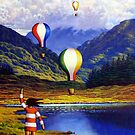 Irish Landscape with girl and balloons by Alan Kenny