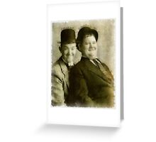 Laurel and Hardy by John Springfield Greeting Card