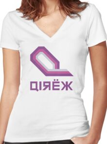 Wipeout - Qirex Logo Women's Fitted V-Neck T-Shirt