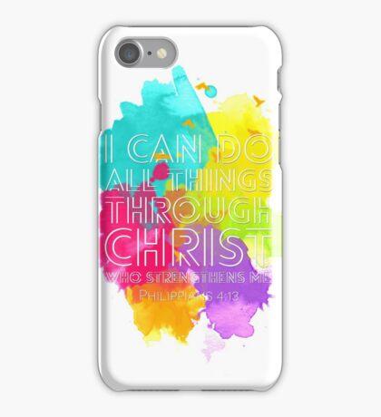 Philippians 4:13 (White Version) iPhone Case/Skin