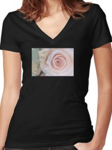 Amore Soft Pink Rose Women's Fitted V-Neck T-Shirt