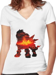 Entei used eruption Women's Fitted V-Neck T-Shirt