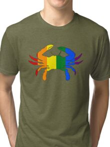 Maryland Flag Crab - Rainbow Tri-blend T-Shirt