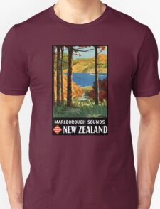 New Zealand Marlborough Sounds Vintage Poster T-Shirt