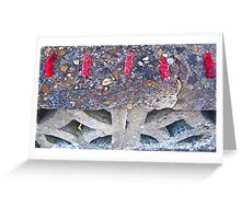 5 Red Bottles Sticking on the Wall! Greeting Card
