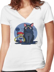 My Neighbor Luna Women's Fitted V-Neck T-Shirt