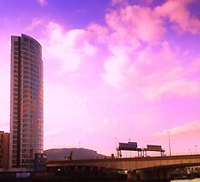 Belfast Obel and motorway by Chris Millar