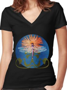 Dragonfly Flower Women's Fitted V-Neck T-Shirt