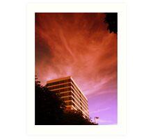 Belfast Offices, Red Sky Art Print