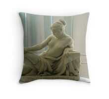 White sculpture of a woman with a knife. Throw Pillow