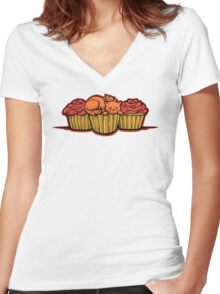 Cupcake Cats Women's Fitted V-Neck T-Shirt