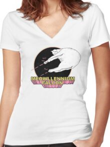 Meowllennium Falcon Women's Fitted V-Neck T-Shirt