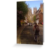 York Minster and Cyclist Greeting Card