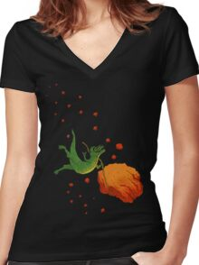 YOLO Dinosaur Lassoes an Asteroid Women's Fitted V-Neck T-Shirt