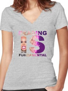 Reading Is Fundamental Women's Fitted V-Neck T-Shirt