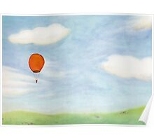 Orange Balloon and a Meadow Poster