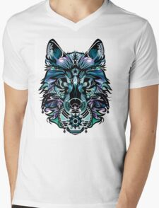 Snow Wolf Mens V-Neck T-Shirt