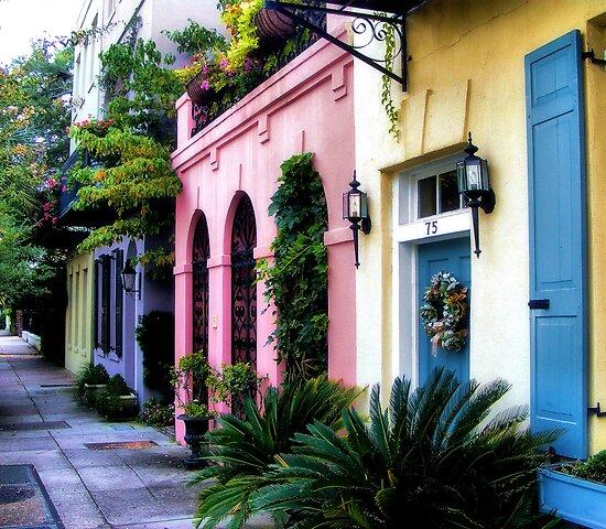 Summertime on rainbow row by lukeeverett redbubble for Charleston row houses