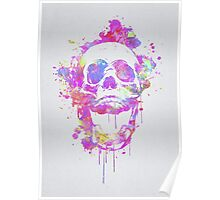 Cool & Trendy Pink Watercolor Skull Poster