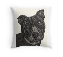 Staffordshire Bull Terrier Pen Drawing Throw Pillow