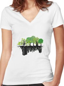 Ecology problem Women's Fitted V-Neck T-Shirt