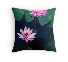 Two of a kind - pink waterlillies Throw Pillow