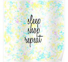 """Sleep, Shop, Repeat"" Watercolors Poster"