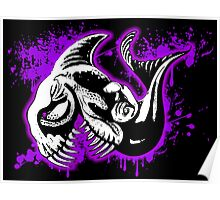Feisty Fish Purple and Black  Poster