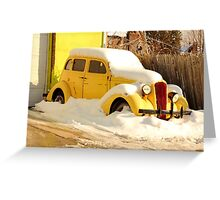 Old 1934 Dodge abandoned in the snow Greeting Card