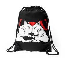 English Bull Terrier Valentines Day Design Drawstring Bag
