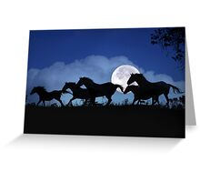 Wild Horse Herd in the Moonlight Greeting Card