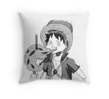 ONE PIECE: Luffy Eating Sketch Throw Pillow