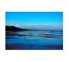Strolling on the Beach - Saltburn Art Print