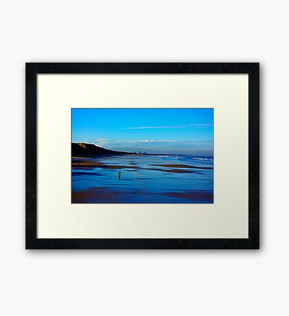 Strolling on the Beach - Saltburn Framed Print