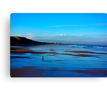 Strolling on the Beach - Saltburn Canvas Print