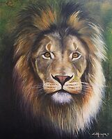 Painted lion by greg ottlinger