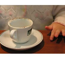 morning coffee with my Granddaughter...no coffee in her cup though! Photographic Print