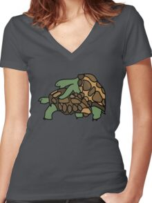 Ninja Turtle Galapagos making love eggs Women's Fitted V-Neck T-Shirt