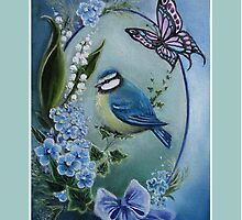 Blue garden bird buttefly lily of the valley,forget me not, bow by Gabriella  Szabo