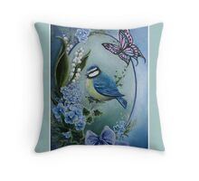 Blue garden bird buttefly lily of the valley,forget me not, bow Throw Pillow
