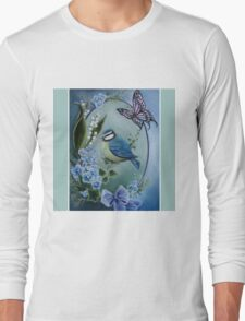 Blue garden bird buttefly lily of the valley,forget me not, bow Long Sleeve T-Shirt