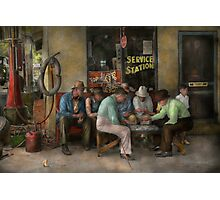 Gas Station - Playing checkers togther 1939 Photographic Print