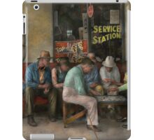 Gas Station - Playing checkers togther 1939 iPad Case/Skin
